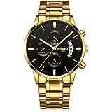 Relojes Hombre Cronógrafo Reloj de Pulsera Calendario con Correa de Acero Inoxidable Elegante, Oro-Negro