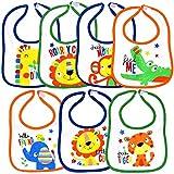 Baby Lätzchen Set 7 Stück Großpackung wasserdicht 2-lagig Baumwolle-Mix PEVA Motiv Wilde Tiere Babylatz für Mädchen und Jungen