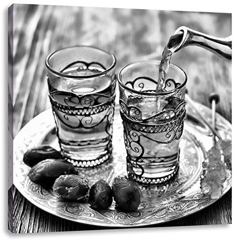 Monocrome, Arabischer Tee, Format: 60x60 auf Leinwand, XXL riesige Bilder fertig gerahmt mit Keilrahmen, Kunstdruck auf Wandbild mit Rahmen, günstiger als Gemälde oder Ölbild, kein Poster oder Plakat Rose Ginger Jar