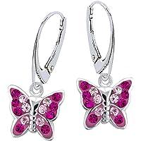 Kristall Schmetterling Klapp-Brisur Ohrringe 925 Echt Silber Mädchen Kinder Ohrstecker Ohrhänger