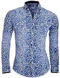 D&R Fashion Men's Washed Blue Slim Fit Shirt with Flower Pattern Modern Stretch