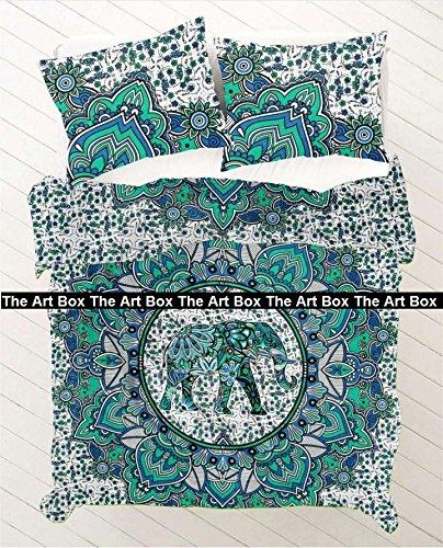 THE ART BOX Green Elephant Flower Mandala Indischen Bettbezug Bettwäsche Tagesdecke 3 Stück Baumwolle Bettbezug Set Queen Size 85x90 Zoll (Stück Queen-size-schlafzimmer-set 3)