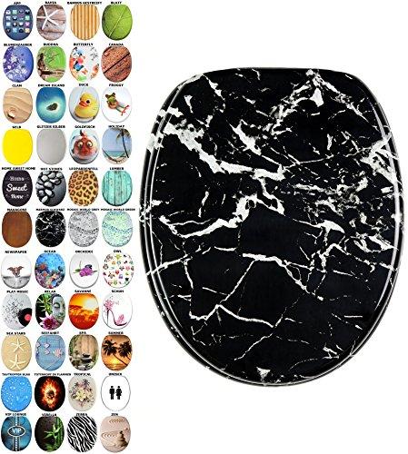 Schwarz-marmor (WC Sitz mit Absenkautomatik, viele schöne WC Sitze zur Auswahl, hochwertige und stabile Qualität aus Holz (Marmor Schwarz))