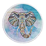 Strandtuch Elefant Quaste Yoga-matte Farbenfroh Kuschelig Rund Strand Badetuch Bikini Cover Up Schal 150cm