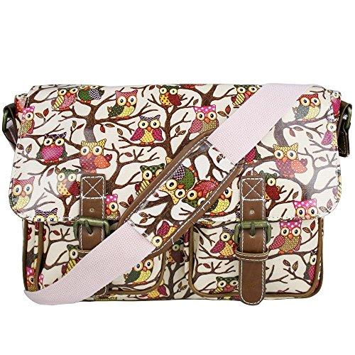 T & S, Borsa a secchiello donna Multicolore Multicolor Owl Pink