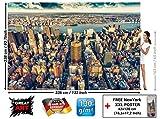 GREAT ART Foto Mural New-York Skyline Decoración Tapiz de Pared Manhattan NYC USA Póster Big Apple America 336x238cm