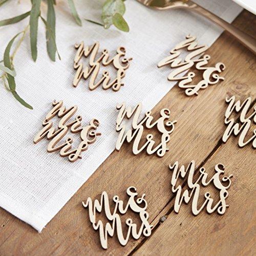 """Tischdeko, Streudeko """"Mr + Mrs"""" aus Holz - 2"""