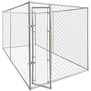 vidaXL Chenil robuste extérieur pour chien en acier galvanisé 200 x 400 x 195 cm