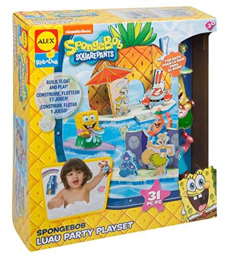 Alex Bob Esponja Fiesta Luau Party Juego de Juguetes para el baño, diseño de