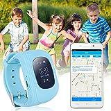 Bambini Smartwatch Impermeabile Smart watch GPS Tracker Kids orologio da polso telefono SIM anti-perso braccialetto SOS, controllo di iPhone iOS Android Smartphone Q50 Blu