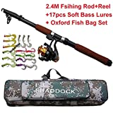 Shaddock Fishing ® 2.4M Lightweight Telescope Fishing Rod And Reel, Fishing Bass Lures, Fishing Bag Combo Package Saltwater Freshwater Kit