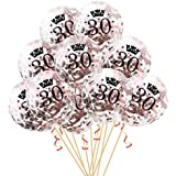 Oblique Unique® Konfetti Luftballon Set für 30. Geburtstag Feier Party Ballons Rosegold