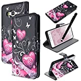 Etui pour Samsung Galaxy Grand Prime, WE LOVE CASE Housse Coque Samsung Grand Prime Portefeuille Noir Silimi Cuir PU Case Cas Couveture Coque Protection Anti Choc Résistante Samsung Grand Prime G530F G531F Motif Fleur