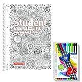ZenArt College-Block 90g DIN A4 Papier Kariert mit Ausmalcover inkl. 13 Staedtler Fineliner Triplus Brilliant Colours