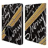 Head Case Designs Schwarz und Gold Weihnachtsgeschenke Brieftasche Handyhülle aus Leder für iPad Air 2 (2014)