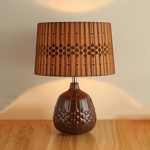 Einfache Moderne Keramik Lampe, Nachttischlampe, Rot Und Braun Schlafzimmer  Wohnzimmer Dekoriert Tischleuchte E27