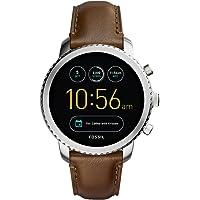 FOSSIL Montre connectée Explorist – Smartwatch homme étanche en cuir marron - Compatibilité iOS & Android - Coffret…