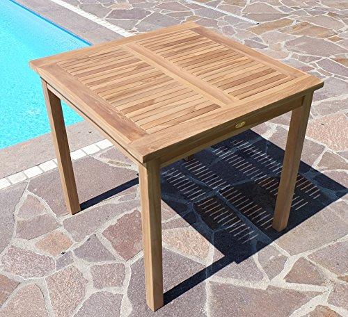TEAK Holztisch Gartentisch Garten Tisch 80x80cm Gartenmöbel Holz sehr robust Modell: ALPEN80 von AS-S