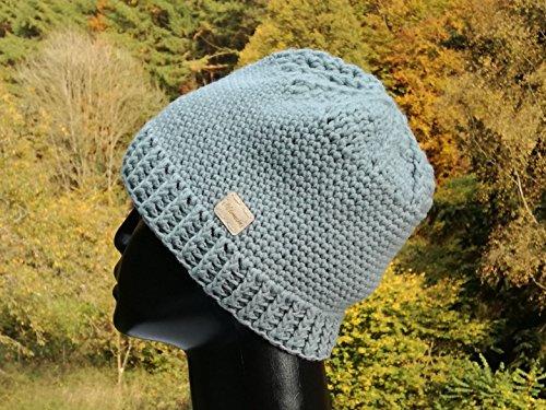 Mütze, Beanie aus Schurwolle (Merino), gehäkelt, schilfgrün/mint -