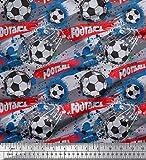Soimoi Grau Baumwolle Ente Stoff Pinselstrich und Fußball