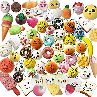 Juguetes Squishy de Hinchado Lento Paquete Surtido de 10 Squishies: Kawaii de Comida Gigante Bollo Pan Donuts Panda Suaves y Blandos Jumbo Medio y Mini - Amuletos de Móvil Llavero Correa de Karids