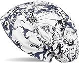 styleBREAKER Beanie Mütze mit Segelkarten Muster im Destroyed Vintage Look, maritim, Unisex 04024076, Farbe:Weiß-Blau-Schwarz