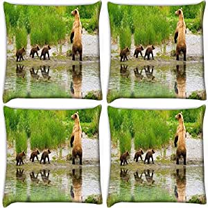 Snoogg Bear With Its Babies Pack Of 4 Digitally Printed Cushion Cover Pillows 12 X 12 Inch