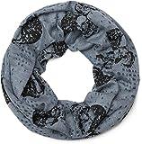 styleBREAKER Loop Schlauchschal mit Totenkopf, Skull Print im Destroyed Vintage Look, Schal, Tuch, Unisex 01017037, Farbe:Blau meliert