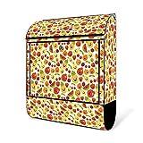 BANJADO Design Briefkasten schwarz | 38x47x13cm groß mit Zeitungsfach | Stahl pulverbeschichtet | Wandbriefkasten mit Motiv Lustiges Obst ohne Standfuß