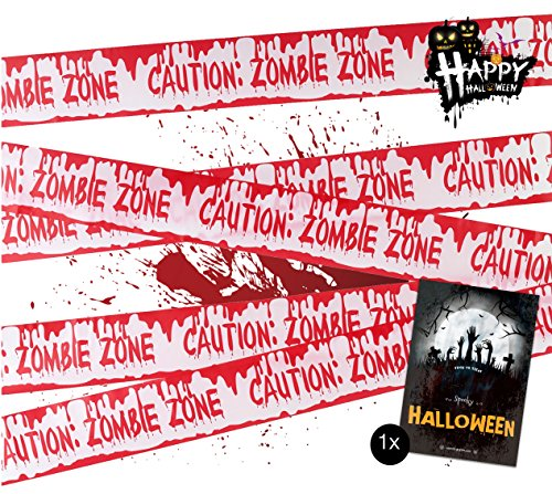 TK Gruppe Timo Klingler 1x Absperrband blutig Absperrung Band 6,1 Meter als Dekoration Deko an Halloween Halloweendeko Party  Caution Zombie Zone (Party-dekoration Halloween Für)