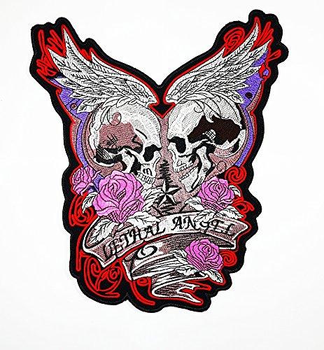 Big Engel Flügel Totenkopf Love sterben nie Choppers Ghost Rider Patch Weste/Jacke Biker Patch Motorrad Fahrer Biker Tattoo Jacke T-Shirt Patch Sew Iron on gesticktes Schild (Engelsflügel Tatoo)