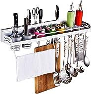 FOONEE Kitchen Wall Pot Rack, Punch-free Multi-function Storage Kitchen Utensil Rack, Aluminum Wall Hanging Shelf Cookware Or