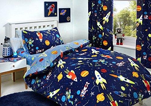 Bedlam Supersonic Glow in The Dark Bettbezug-Set, Polyester/Baumwolle, blau, Single