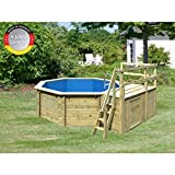 Paradies Pool GmbH Holzpool Einzelbecken 4,00 x 1,20 m Inklusive Sonnendeck mit Zusätzlichem Flügel