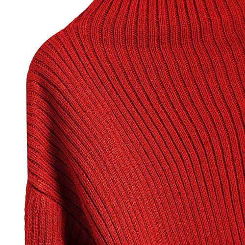Pull Femme Hiver Élégant Pull Col Roulé Manches Longues Chandail avec Lanterne Manches Chemise Décontractée Mode Sweat Rouge