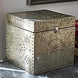 Loberon Box Célya, Mangoholz, H/B/T ca. 20/20/20 cm, Silber