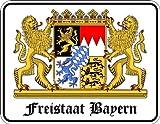 Freistaat Bayern - Blech-Schild Blechschild mit Spruch, 4 Saugnäpfe - Grösse 22x17 cm