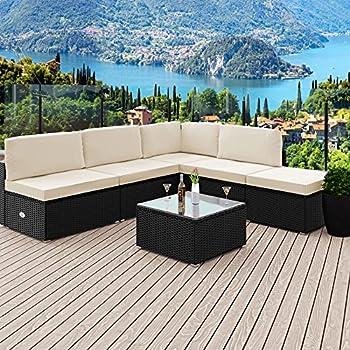 Amazonde Deuba Poly Rattan Lounge Set Xxl I 7cm Dicke Auflagen I
