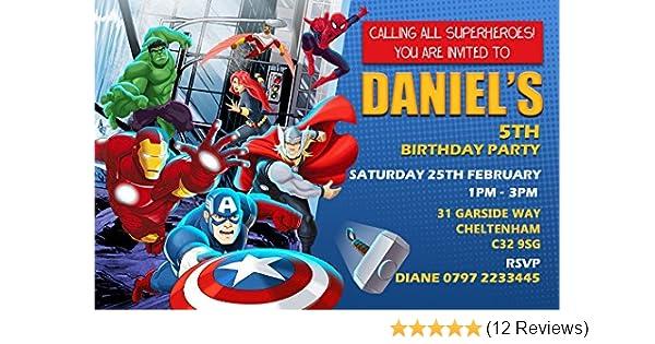 Avengers Superhero Birthday Party Invitations Envelopes Click Customize Now For Prices Amazoncouk Toys Games