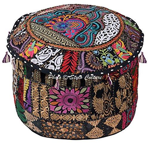 Stylo Kultur-Baumwoll-Patchwork gestickter osmanischer Hocker-Hocker-Abdeckung Schwarzer Blumenoftoman-Hocker