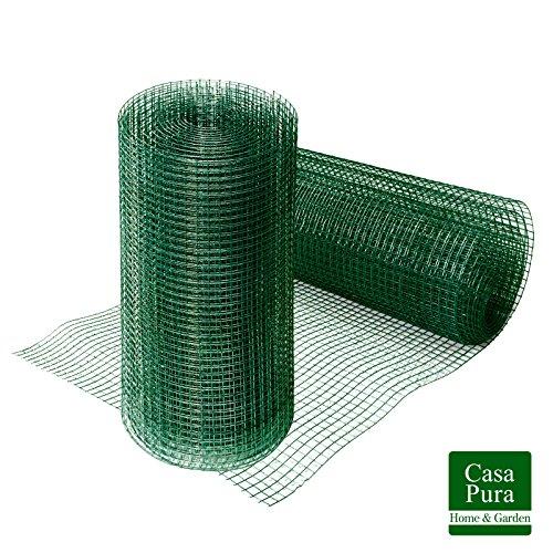 casa pura® Drahtgitter grün | 4-Eck-Geflecht Volierendraht, mit PVC-Beschichtung | verschiedene Größen, 50cmx5m