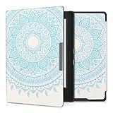 kwmobile Hülle für Kobo Aura H2O Edition 1 - Flipcover Case eReader Schutzhülle - Bookstyle Klapphülle Indische Sonne Design Hellblau Weiß