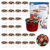 MamboCat 25er 230 ml Sturzglas-Set | Einmachgläser + Twist-Off-Deckel Erdbeere + GRATIS Rezeptheft | einkochen & konservieren | backofengeeignet