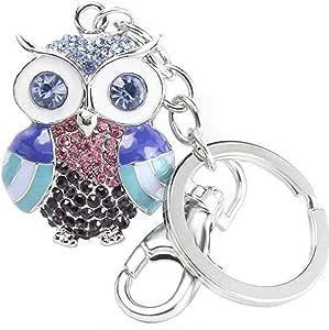 Quadiva- Gioielli da Donna - Ciondolo Gufo colorato - Colorful Owl - (Colore: Argento/Multicolore) Decorato con Cristalli