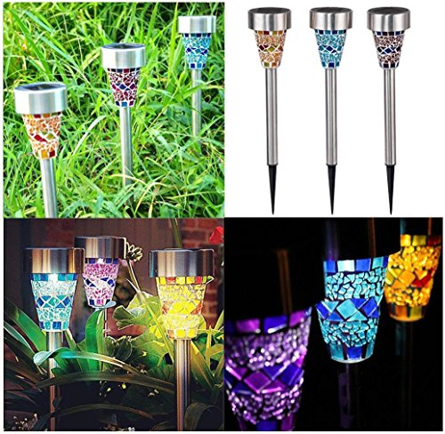 Mosaic Solar Garden Lights - Malloom 2017 New Style LED Solar Garden Landscape Lights Outdoor Border Lighting with Auto Sensor Function for Garden Flowerbed Path Driveway Patio Lawn Outdoor Decoration (3 Pack )