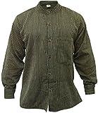 Shopoholic Fashion - Camisa para hombre con cuello mao, diseño de rayas negro negro XX-Large