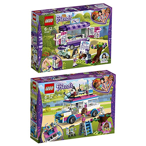 Lego Friends Freizeitpark 2er Set 41332 41333 Emmas rollender Kunstkiosk + Olivias Rettungsfahrzeug