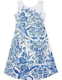 Mädchen Kleid Blau Weiß Porzellan Blumen- Gedruckt Knoten Taste