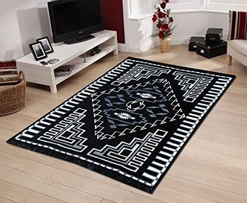 Yellow Weaves Black-Grey Modern Design Velvet Touch Carpet - 4.5 Ft X 7 Ft