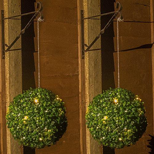 Woodside - Solarleuchte - Formschnitt-Kugel mit 20 LED-Leuchten - Gartendekoration - 2 Stück